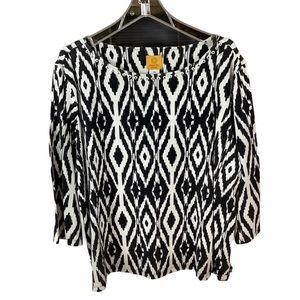 RUBY RD. 3X Black/White Geometric Top 3/4 Sleeves